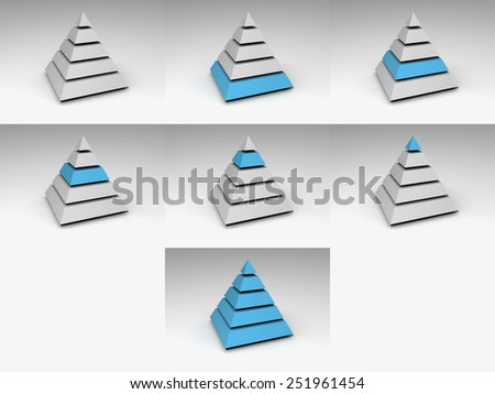 Pyramid icon with 5 layers, each separately highlighted. Very high resolution.
