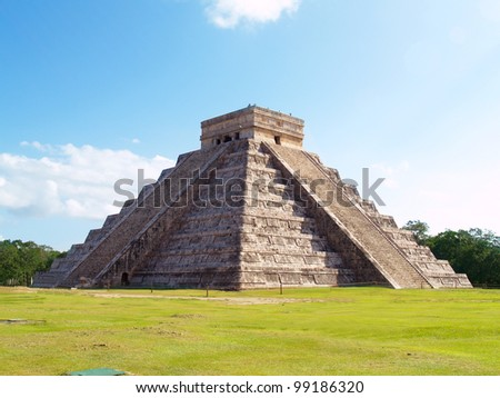 Pyramid Kukulkan temple. Chichen Itza. Mexico - stock photo