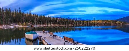 Pyramid Lake, Jasper National Park, Alberta, Canada - stock photo