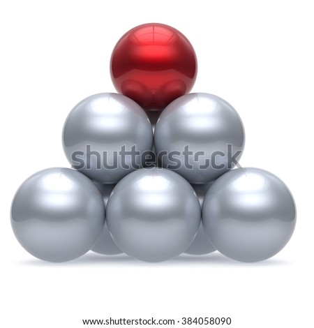 Pyramid leader sphere ball hierarchy corporation red top order leadership element teamwork group business concept shiny sparkling white chrome. 3d render isolated - stock photo