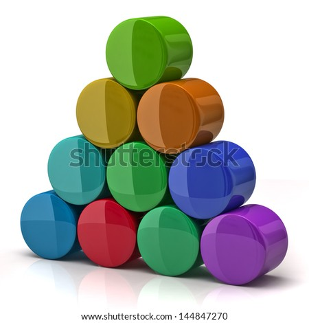 Pyramid made from colorful cylinders - stock photo
