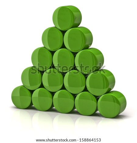 Pyramid made from green cylinders