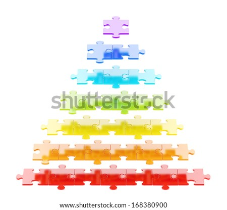 Pyramid made of colorful puzzle pieces isolated over white background - stock photo