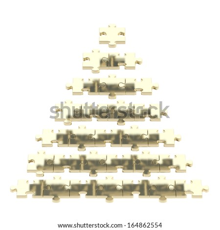 Pyramid made of golden puzzle pieces isolated over white background - stock photo