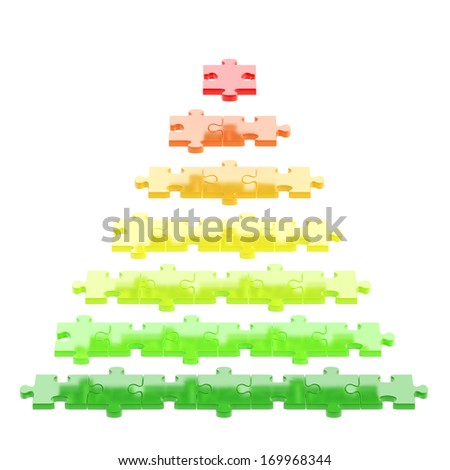 Pyramid made of red, orange, green puzzle pieces isolated over white background - stock photo