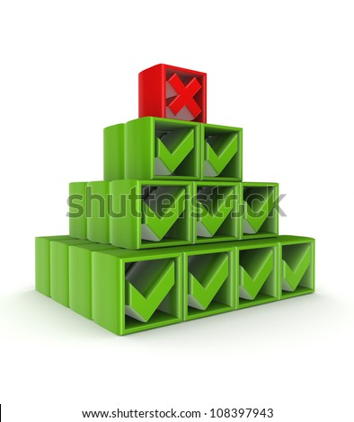 Pyramid made tick marks and cross mark.Isolated on white background.3d rendered.