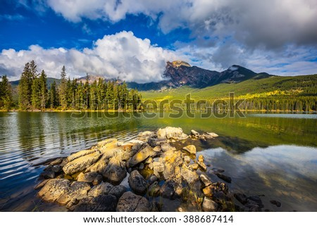 Pyramid Mountain and Lake. The clear autumn morning in Jasper National Park, Canada - stock photo