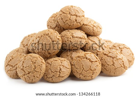 pyramid of almond cookies on white background - stock photo