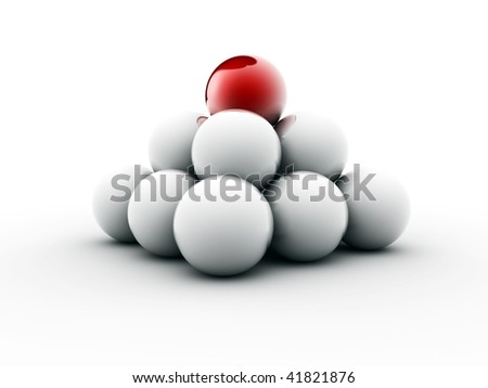 Pyramid of balls sitting in balance with a red sphere on top - 3d render - stock photo