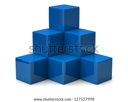 Pyramid of blue cubes - stock photo