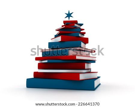 Pyramid of Books-Christmas Tree - stock photo