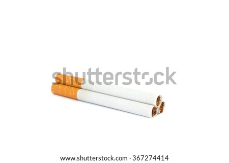 Pyramid of cigarettes isolated on white background