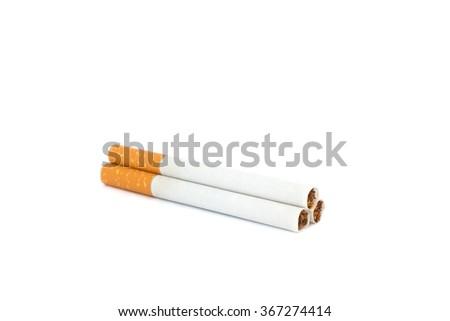 Pyramid of cigarettes isolated on white background - stock photo