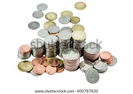 pyramid of coin, isolated coin, thai bath - stock photo