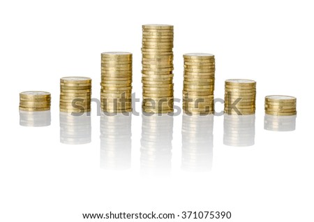 Pyramid of coins stacks on a white background - stock photo