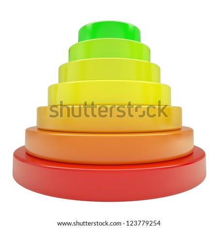 Pyramid of colored discs. Isolated render on a white background - stock photo