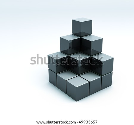 pyramid of cubes isolated 3d model - stock photo