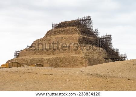 Pyramid of Djoser, an archeological remain in the Saqqara necropolis, Egypt. UNESCO World Heritage - stock photo