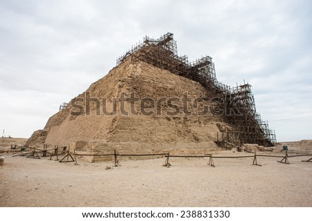 Pyramid of Djoser (Stepped pyramid), an archeological remain in the Saqqara necropolis, Egypt. UNESCO World Heritage