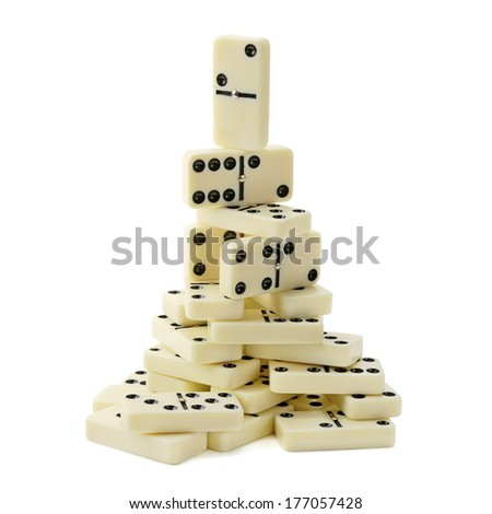 pyramid of dominoes isolated on a white background                                    - stock photo