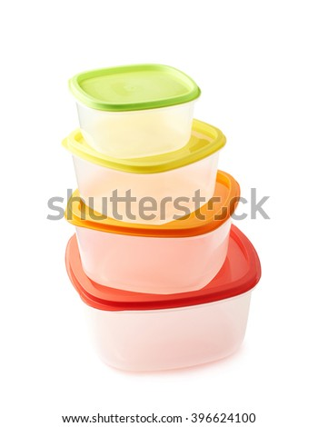 Pyramid of food containers isolated - stock photo