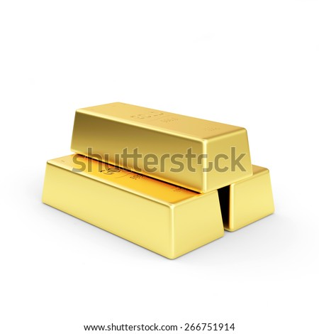 Pyramid of Golden bars isolated on a white background - stock photo