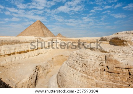 Pyramid of Khafre (Pyramid of Chephren) and Pyramid of Cheops, Giza Necropolis, Egypt