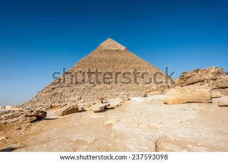 Pyramid of Khafre (Pyramid of Chephren), one of the Ancient Egyptian Pyramids of Giza and the tomb of the Fourth-Dynasty pharaoh Khafre - stock photo