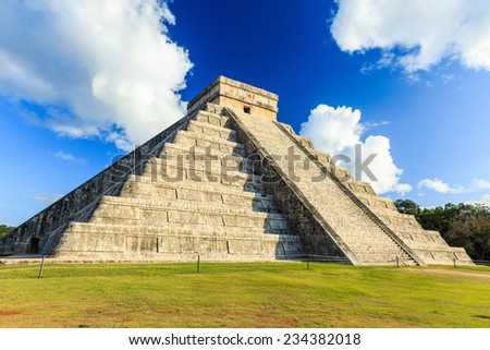 Pyramid of Kukulcan El Castillo in Chichen-Itza (Chichen Itza), Mexico - stock photo