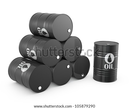 Pyramid of oil barrels and single barrel, isolated on white background - stock photo