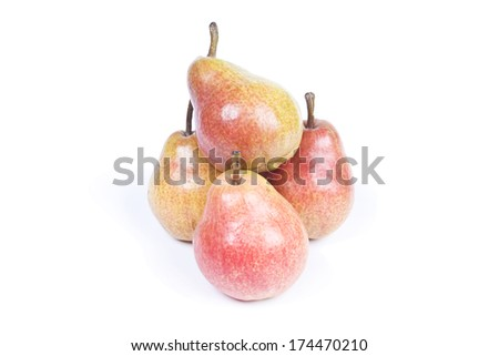 Pyramid Of Pears Isolated Over White - stock photo