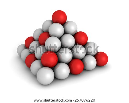 Pyramid Of Red And White Spheres. Business Concept 3d Render Illustration - stock photo