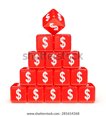 Pyramid of red cubes with dollar sign isolated on white background - stock photo
