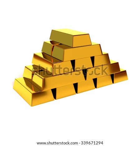 Pyramid of shiny gold bars on a white background. 3D illustration, render. Concept of financial success and prosperity. - stock photo