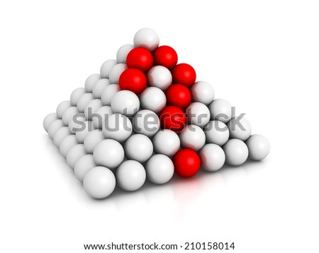 pyramid of spheres with red question mark. 3d render illustration