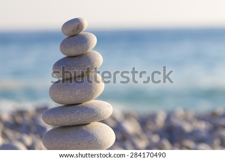 Pyramid of stones on the beach