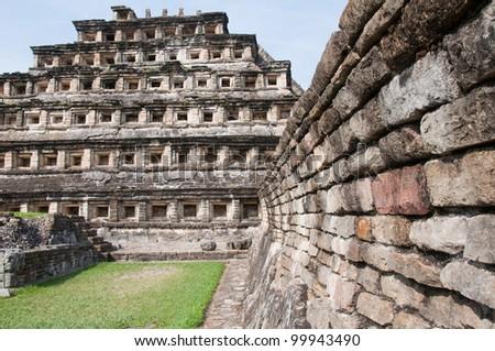 Pyramid of the Niches, El Tajin (Mexico) - stock photo