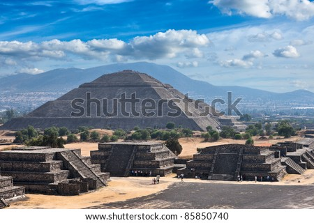 Pyramid of the Sun. Teotihuacan. Mexico. View from the Pyramid of the Moon. - stock photo