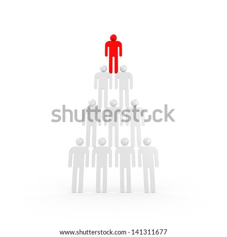Pyramid of white abstract 3d people with one red leader on top