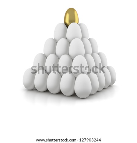 Pyramid of white eggs with golden egg on top on white background - stock photo