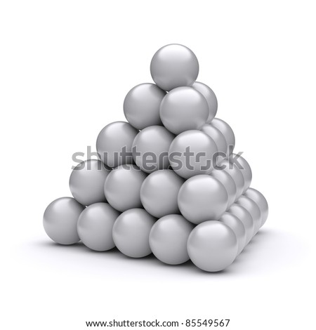 Pyramid on a white background. 3d rendered image - stock photo