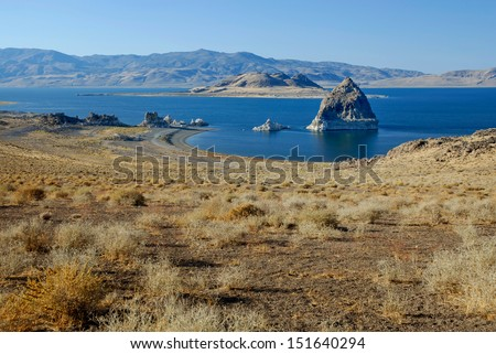 Pyramid Rock in Pyramid Lake near Reno, Nevada. The lakes is fed by the Truckee River flowing out of Lake Tahoe.