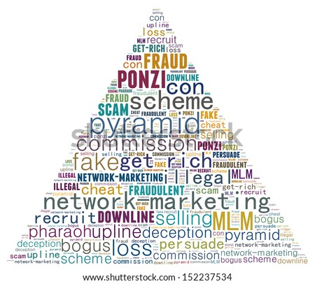 Pyramid scheme in text graphics - stock photo