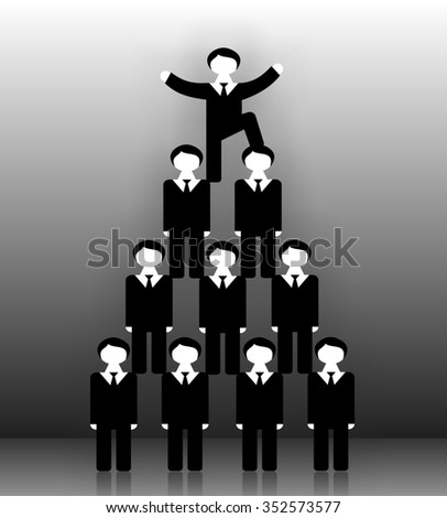 Pyramid scheme the office staff. Employees standing on the shoulders of each other. Man at the top put his foot on the head of the lower man and raised his hands in a sign of victory and success.