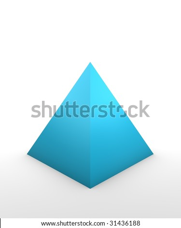 pyramid shape in 3D on white background - stock photo