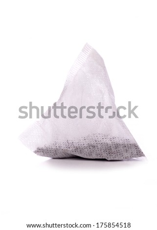 pyramid tea bag studio cutout - stock photo