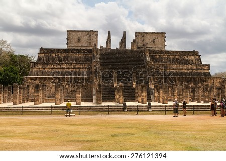 Pyramid, temples and ruins in Chichen Itza, Yucatan, Mexico - stock photo