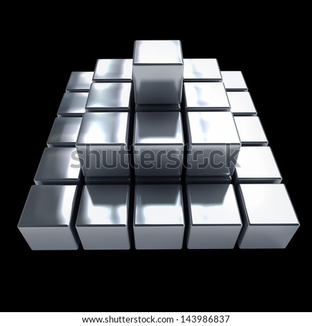 Pyramid with metal cubes isolated on black background  High resolution 3d