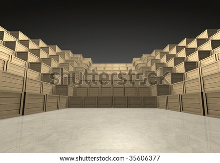 Pyramidal forum assempled with wooden shipment boxes in dark infinite interior with smooth concrete reflective floor - low perspective - computer generated image - stock photo