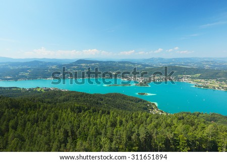 Pyramidenkogel, view of the Lake Worthersee, Carinthia, Austria